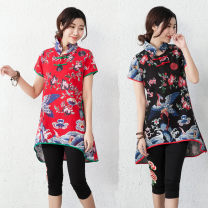 Dress Summer 2020 L,XL,2XL,3XL longuette singleton  Short sleeve commute stand collar High waist other double-breasted Irregular skirt other Others Yinglaifu ethnic style Stitching, printing 30% and below other cotton