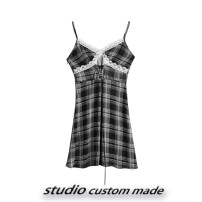 Dress Spring 2021 Black and white, wholesale from 500 pieces, collect and buy send freight insurance S,M,L Short skirt singleton  commute Elastic waist lattice other camisole 18-24 years old Type H B1041012 More than 95% other polyester fiber