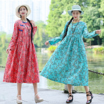 Dress Autumn of 2019 Red, blue M,L,XL,2XL Mid length dress singleton  Long sleeves commute Crew neck Loose waist Decor Socket A-line skirt routine Others Type A ethnic style Pocket, panel, print 31% (inclusive) - 50% (inclusive) cotton