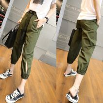 Casual pants Black, army green S 25,M 26,L 27,XL 28,2XL 29 Summer 2021 Ninth pants Haren pants High waist original routine 25-29 years old 51% (inclusive) - 70% (inclusive) F9029 Cotton blended fabric pocket