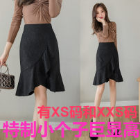 skirt Spring 2021 Xs, s, m, l, XL, 2XL, XXS legal edition is too small 145-155 black Middle-skirt commute High waist Ruffle Skirt Solid color Type A 18-24 years old More than 95% other Zhenyaluo other Lotus leaf edge Korean version