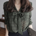 Lace / Chiffon Spring 2021 Army green S,M,L,XL Long sleeves commute Cardigan singleton  easy Regular V-neck lattice shirt sleeve 25-29 years old Other / other 9015# Simplicity
