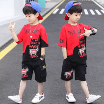 suit Other / other Red, blue 110cm,120cm,130cm,140cm,150cm,160cm,170cm male summer leisure time Short sleeve + pants 2 pieces routine There are models in the real shooting Socket nothing Cartoon characters cotton children Shopping Class B Cotton 95% polyurethane elastic fiber (spandex) 5%