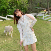 Dress Summer 2020 White, black S,M,L Mid length dress Fake two pieces Long sleeves commute High waist Solid color puff sleeve Type H Retro Splicing, mesh Tweed skirt with mesh stitching