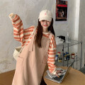 Dress Winter 2020 Blue apricot stripe top, orange stripe top, apricot strap skirt, pink orange strap skirt, coffee strap skirt, coffee stripe top Average size Mid length dress singleton  Long sleeves commute Crew neck Loose waist Solid color other other routine straps 18-24 years old Type H corduroy