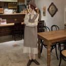 Dress Autumn 2020 Apricot shirt skirt, blue shirt skirt, apricot vest, blue vest# Average size Two piece set