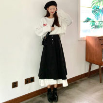 skirt Spring 2021 Average size black longuette commute High waist A-line skirt Type A 18-24 years old 91% (inclusive) - 95% (inclusive) other other Splicing Korean version