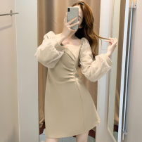 Dress Spring 2021 Black, khaki S,M,L,XL Short skirt other Long sleeves commute square neck High waist Solid color zipper A-line skirt puff sleeve Others Type A Splicing 31% (inclusive) - 50% (inclusive) other polyester fiber