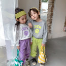 suit Other / other Green pants suit, purple pants suit 80cm,90cm,100cm,110cm,120cm,130cm spring and autumn Korean version Long sleeve + pants 2 pieces routine There are models in the real shooting Socket nothing Solid color cotton children Giving presents at school Class A Chinese Mainland