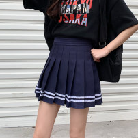 skirt Summer 2021 S,M,L White, blue, black, pink Short skirt commute High waist A-line skirt Solid color Type A 18-24 years old 81% (inclusive) - 90% (inclusive) other Other / other other fold Korean version