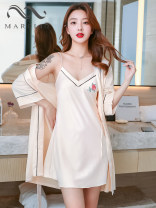Pajamas / housewear set female Other / other 160(M),165(L),170(XL) Iced silk camisole sexy Leisure home summer Thin money V-neck Solid color Tether youth 2 pieces More than 95% silk printing Short skirt