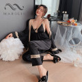 Pajamas / housewear set female Other / other M,L,XL Iced silk camisole sexy Leisure home summer Thin money V-neck Solid color trousers Tether youth 3 pieces rubber string silk bow