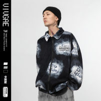 Jacket VIVGAE Fashion City Black, blue XL,L,M,XXL routine easy Other leisure Four seasons F671 Long sleeves Wear out No collar American leisure youth routine Zipper placket 2020 Regular sleeve Solid color Chemical fiber blend printing Three dimensional bag other