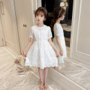 Dress Summer 2021 white 110, 120, 130, 140, 150, 160 Mid length dress singleton  Short sleeve Sweet Crew neck middle-waisted Solid color zipper Princess Dress routine Others Under 17 Type A Other / other 81% (inclusive) - 90% (inclusive) other other princess