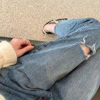 Women's large Summer 2021 Blue, blue [no holes], blue [7723], blue [7083], blue [7089], blue [6027], [please don't make it bigger] S [80-90 kg], m [90-100 kg], l [100-120 kg], XL [120-140 kg], 2x [140-160 kg], 3XL [160-180 kg], 4XL [180-200 kg] Jeans singleton  commute easy thin Solid color Denim