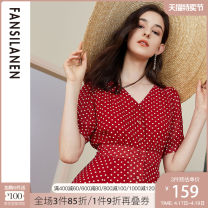 Dress Summer of 2019 White dots on red background white dots on black background XS S M L XL Mid length dress singleton  Short sleeve commute V-neck High waist Dot Single breasted A-line skirt shirt sleeve 25-29 years old Type A Van schlan lady Button Z92423 More than 95% Chiffon other