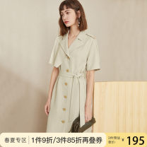 Dress Summer 2020 Black Avocado Green apricot coral red melon orange XS S M L XL Mid length dress singleton  Short sleeve commute tailored collar High waist Solid color Single breasted A-line skirt routine Others 25-29 years old Type A Van schlan Korean version Button with cloth tie Z200915 Chiffon