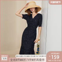 Dress Summer 2020 XS S M L XL Mid length dress singleton  Short sleeve commute V-neck High waist other Socket A-line skirt routine Others 25-29 years old Type A Van schlan Retro More than 95% polyester fiber Polyester 100% Pure e-commerce (online only)