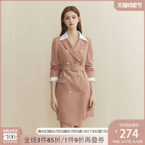 Dress Autumn 2020 Black tea green shrimp Pink XS S M L XL Mid length dress singleton  Long sleeves commute tailored collar High waist Solid color double-breasted A-line skirt routine Others 25-29 years old Type A Van schlan Korean version Three dimensional mosaic decoration Z201817 More than 95%