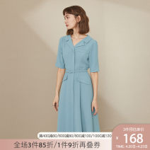 Dress Summer 2020 Black Blue Cream XS S M L XL Mid length dress singleton  Short sleeve commute tailored collar High waist Solid color Single breasted A-line skirt routine Others 25-29 years old Type X Van schlan Korean version Lace up stitching Z201000 More than 95% Chiffon other