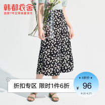 skirt Summer 2021 XS S M L XL black Mid length dress commute High waist A-line skirt Broken flowers Type A 18-24 years old OM81807. 91% (inclusive) - 95% (inclusive) Hstyle / handu clothing house polyester fiber Korean version Polyester 95% polyurethane elastic fiber (spandex) 5%