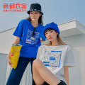T-shirt White blue S M L Summer 2021 Short sleeve Crew neck easy Regular routine cotton 86% (inclusive) -95% (inclusive) 18-24 years old youth Hstyle / handu clothing house OM82378. printing Cotton 94% polyurethane elastic fiber (spandex) 6% Pure e-commerce (online only)