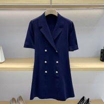 Dress Summer 2021 Navy Blue 1 / s, 2 / m, 3 / L Short skirt singleton  Short sleeve commute tailored collar High waist Solid color double-breasted A-line skirt routine Others 25-29 years old Type A Button GD6133 51% (inclusive) - 70% (inclusive) knitting other