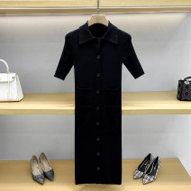 Dress Summer 2021 black 1 / s, 2 / m, 3 / L Mid length dress singleton  Short sleeve commute Polo collar middle-waisted Solid color Single breasted A-line skirt routine Others 25-29 years old Type A Pocket, button 71% (inclusive) - 80% (inclusive) knitting other