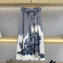 skirt Summer 2021 1 / s, 2 / m, 3 / L Blue and white stripes Mid length dress commute High waist A-line skirt stripe Type A 25-29 years old GD9822 More than 95% brocade polyester fiber Bow, tie, print