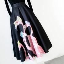 skirt Spring 2021 Mid length dress commute High waist A-line skirt Decor Type A Ziweiyi Ol style