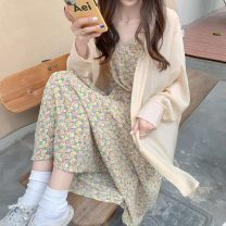 Fashion suit Summer 2021 Average size Yellow floral skirt, apricot shirt 18-25 years old 155H 71% (inclusive) - 80% (inclusive) polyester fiber