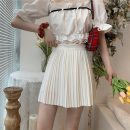 skirt Summer 2021 Average size White, black Short skirt commute High waist Pleated skirt Solid color Type A 18-24 years old 525X 71% (inclusive) - 80% (inclusive) polyester fiber fold Korean version