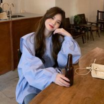 shirt White, blue, black Average size Spring 2021 cotton 71% (inclusive) - 80% (inclusive) Long sleeves commute Regular Admiral Single row multi button shirt sleeve Solid color 18-24 years old Straight cylinder Korean version 6543F