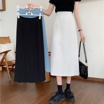 skirt Summer 2021 Average size Apricot, blue, black Mid length dress commute High waist A-line skirt Solid color Type A 18-24 years old 8261H 71% (inclusive) - 80% (inclusive) polyester fiber Korean version