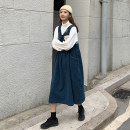 Dress Autumn 2020 Western style green strap skirt (single piece), Tibetan blue strap skirt (single piece), white high collar bottom (single piece) Average size Mid length dress Two piece set Sleeveless commute Loose waist Solid color Socket Others 18-24 years old Type H Other / other Korean version