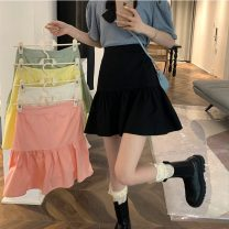 skirt Summer 2021 S,M,L White, green, yellow, black, pink Short skirt commute High waist Cake skirt Solid color Type A 18-24 years old 61011X 71% (inclusive) - 80% (inclusive) polyester fiber Korean version