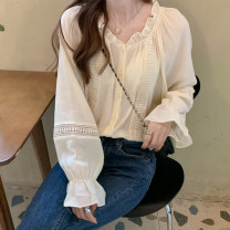 shirt Apricot Average size Spring 2021 polyester fiber 51% (inclusive) - 70% (inclusive) Long sleeves commute Regular V-neck Socket Solid color 18-24 years old Straight cylinder Korean version 0921M