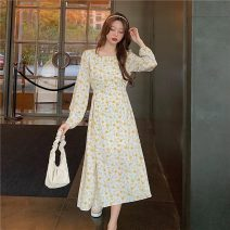 Dress Spring 2021 Apricot, black Average size Middle-skirt singleton  Long sleeves commute square neck Decor Socket 18-24 years old Type A Korean version 1226X 51% (inclusive) - 70% (inclusive) polyester fiber