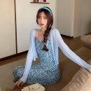 Dress Summer 2021 Blue suspender skirt, blue cardigan, green suspender skirt, green cardigan S. M, average size Mid length dress singleton  Sleeveless commute High waist A-line skirt camisole 18-24 years old Korean version 02511F 51% (inclusive) - 70% (inclusive) cotton