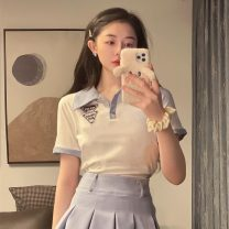 Fashion suit Summer 2021 S. M, l, average size White top, black top, blue skirt 18-25 years old 0036X 51% (inclusive) - 70% (inclusive) cotton