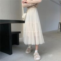 skirt Spring 2021 Average size Apricot, black Mid length dress commute High waist A-line skirt Solid color Type A 18-24 years old 3081H 71% (inclusive) - 80% (inclusive) polyester fiber Korean version