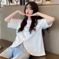 T-shirt White, black Average size Summer 2021 Short sleeve Crew neck easy Regular routine commute polyester fiber 51% (inclusive) - 70% (inclusive) 18-24 years old Korean version