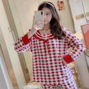 Pajamas / housewear set female Other / other Average size Polyester (polyester) Long sleeves Simplicity Leisure home spring routine Crew neck lattice trousers juvenile 2 pieces 41% (inclusive) - 60% (inclusive)