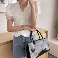shirt Summer 2021 polyester fiber 71% (inclusive) - 80% (inclusive) Short sleeve commute Short style (40cm < length ≤ 50cm) V-neck Single row multi button puff sleeve Solid color 18-24 years old Self cultivation Korean version 7911H One size fits all white