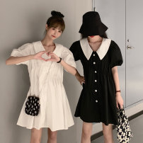 Dress Summer 2021 Light blue, white, black Average size Short skirt singleton  Short sleeve commute V-neck Loose waist Solid color Single breasted Big swing puff sleeve 18-24 years old Type A Korean version 8001M 51% (inclusive) - 70% (inclusive) polyester fiber