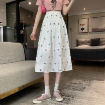 skirt Summer 2021 Average size White, black Mid length dress commute High waist A-line skirt Type A 18-24 years old 8598H 71% (inclusive) - 80% (inclusive) polyester fiber Korean version