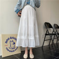skirt Summer 2021 Average size White, black Mid length dress commute High waist A-line skirt Solid color Type A 18-24 years old 7946M 51% (inclusive) - 70% (inclusive) Viscose Korean version