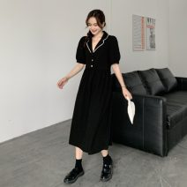 Dress Spring 2021 Black, pink Average size Mid length dress singleton  Short sleeve commute tailored collar Solid color routine 18-24 years old Korean version 7393H 51% (inclusive) - 70% (inclusive) polyester fiber