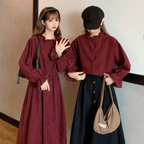 Dress Autumn 2020 White top, red top, blue top, khaki top, black skirt, Khaki Skirt, brown skirt, white dress, red dress, blue dress, khaki dress Average size Mid length dress singleton  Long sleeves commute High waist Solid color other bishop sleeve Others 18-24 years old Type H Korean version