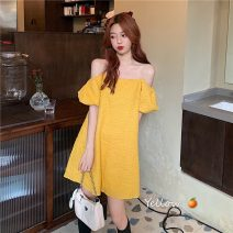 Dress Summer 2021 White, yellow Average size Middle-skirt singleton  Short sleeve commute One word collar Loose waist Solid color Socket A-line skirt puff sleeve camisole 18-24 years old Type A Korean version 9079F 31% (inclusive) - 50% (inclusive) polyester fiber